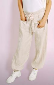 Stone Linen Trousers With Floral Belt